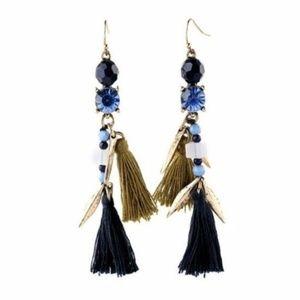 caroline // tassel drop statement earrings in blue